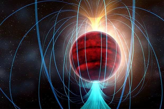 Artist's impression of fred Dwarf TVLM 513-46546 and magnetic field Credit: NRAO/AUI/NSF; Dana Berry / SkyWorks