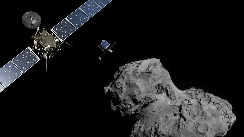 Missions such as Rosetta can reveal much about comets' role in transporting water around the early Solar System.Credit: ESA/ATG medialab; Comet image: ESA/Rosetta/Navcam