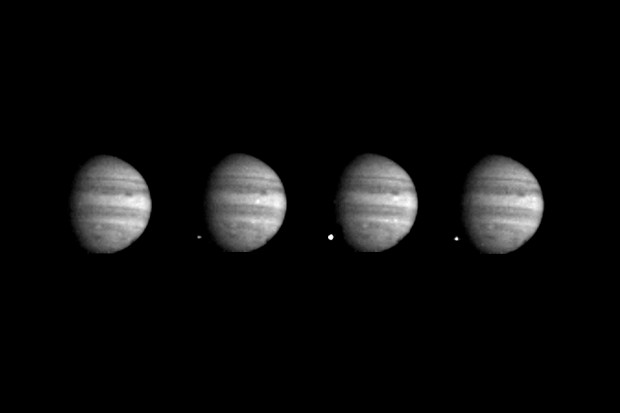 Four images of Jupiter and the impact of fragment W of Comet Shoemaker-Levy 9, captured by the Galileo spacecraft on 22 July 1994 from a distance of 238 million km from Jupiter. Credit: NASA/JPL
