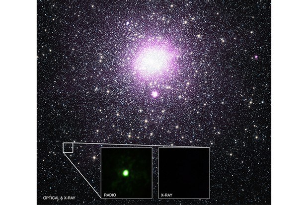 An image showing M15 and the location of the mysterious X-ray source, now confirmed to be a black hole. X-ray: NASA/CXC/Univ. of Alberta/B.Tetarenko et al; Optical: NASA/STScI; Radio: NSF/AUI/NRAO/Curtin Univ./J. Miller-Jones