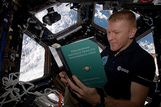 Tim Peake Reading Newton Book