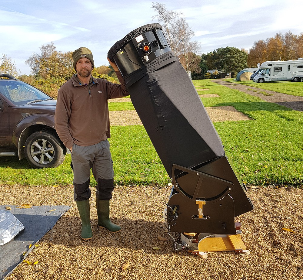 Tim Jardine pictured with his 18-inch Dobsonian. Beginners can afford to start with a much smaller model! Credit: Tim Jardine