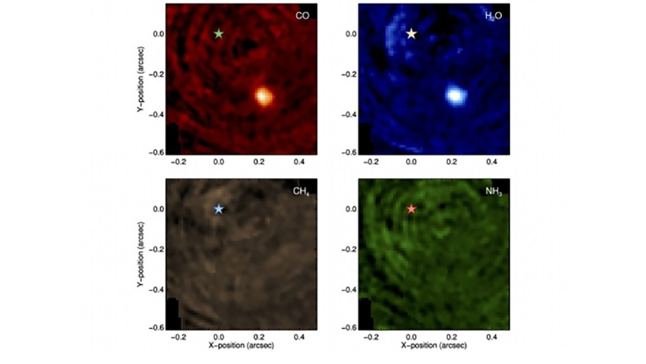 Spectrums of carbon monoxide, water, methane and ammonia (left to right) in an image of Beta Pictoris. Credit: UNIGE