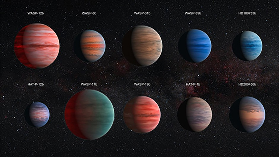 An artist's impression of ten Jupiter-sized exoplanets, including WASP-12b, that were examined as part of a study published in 2015. The images are to scale.Credit: ESA/Hubble & NASA