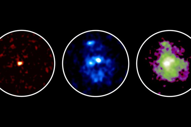 The galaxies were imaged at submillimeter with ALMA (left) to show gas and dust, and with Hubble at optical (middle, showing three young star clusters) and infrared (right, showing the galactic disc). Image Credit: ALMA (ESO/NAOJ/NRAO), NASA/ESA Hubble Space Telescope, Tadaki et al.