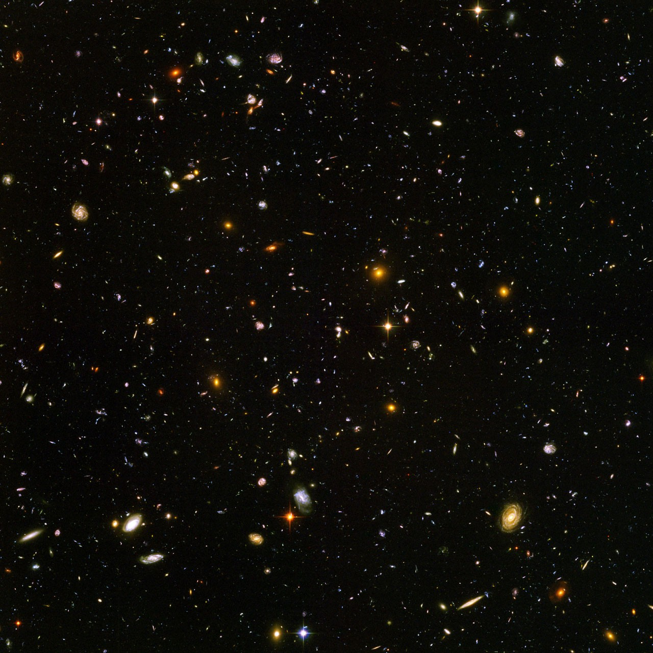 "Galaxies, galaxies everywhere - as far as the NASA/ESA Hubble Space Telescope can see. This view of nearly 10,000 galaxies is the deepest visible-light image of the cosmos. Called the Hubble Ultra Deep Field, this galaxy-studded view represents a ""deep"" core sample of the universe, cutting across billions of light-years. The snapshot includes galaxies of various ages, sizes, shapes, and colours. The smallest, reddest galaxies, about 100, may be among the most distant known, existing when the universe was just 800 million years old. The nearest galaxies - the larger, brighter, well-defined spirals and ellipticals - thrived about 1 billion years ago, when the cosmos was 13 billion years old. In vibrant contrast to the rich harvest of classic spiral and elliptical galaxies, there is a zoo of oddball galaxies littering the field. Some look like toothpicks; others like links on a bracelet. A few appear to be interacting. These oddball galaxies chronicle a period when the universe was younger and more chaotic. Order and structure were just beginning to emerge. The Ultra Deep Field observations, taken by the Advanced Camera for Surveys, represent a narrow, deep view of the cosmos. Peering into the Ultra Deep Field is like looking through a 2.5 metre-long soda straw. In ground-based photographs, the patch of sky in which the galaxies reside (just one-tenth the diameter of the full Moon) is largely empty. Located in the constellation Fornax, the region is so empty that only a handful of stars within the Milky Way galaxy can be seen in the image. In this image, blue and green correspond to colours that can be seen by the human eye, such as hot, young, blue stars and the glow of Sun-like stars in the disks of galaxies. Red represents near-infrared light, which is invisible to the human eye, such as the red glow of dust-enshrouded galaxies. The image required 800 exposures taken over the course of 400 Hubble orbits around Earth. The total amount of exposure time was 11.3 days,"