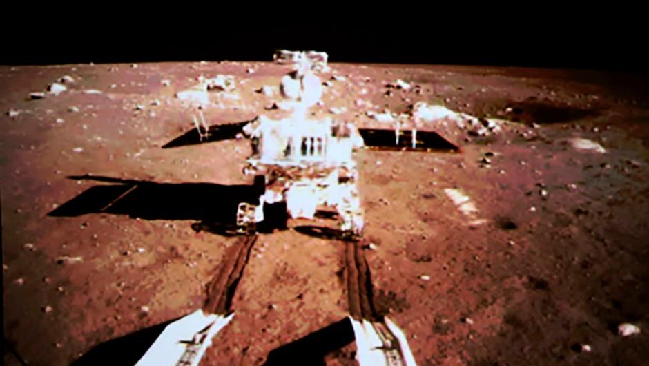 Mandatory Credit: Photo by HAP/Quirky China News/REX (3429493c)TV grab of China's moon rover Yutu, or Jade Rabbit, and lander on the moonChang'e-3 lunar probe mission - 15 Dec 2013