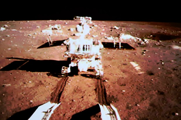 Mandatory Credit: Photo by HAP/Quirky China News/REX (3429493c) TV grab of China's moon rover Yutu, or Jade Rabbit, and lander on the moon Chang'e-3 lunar probe mission - 15 Dec 2013