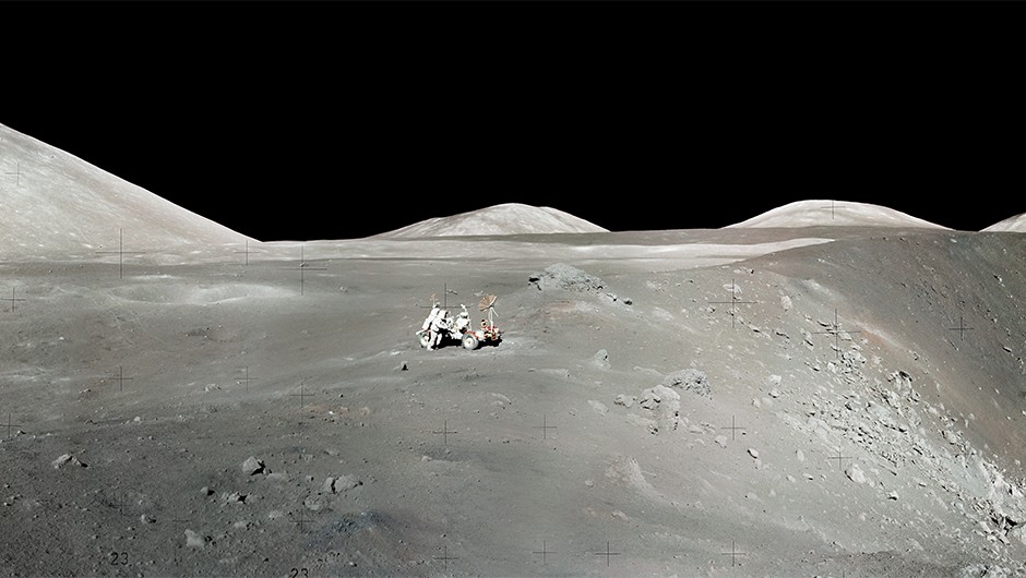 The moon's Taurus-Littrow Valley, taken during the first moonwalk during the Apollo 17 mission. Image Credit: NASA