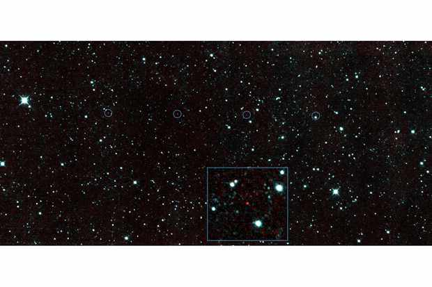 Credit: NASA/JPL-Caltech  The six red dots in this composite image indicate the position of 2013 YP139