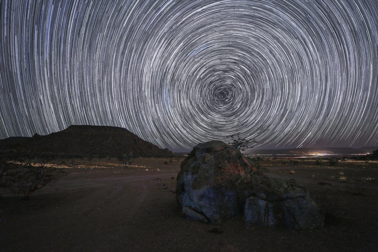 CAPTION: A startrail looking towards the south pole from Namibia. Credit: Jamie Carter