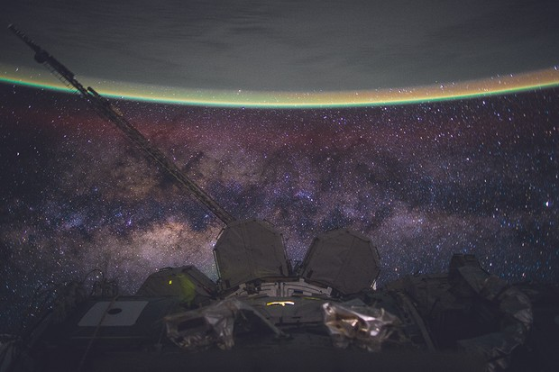An image captured by Kelly of the Milky Way and Earth's fragile atmosphere.