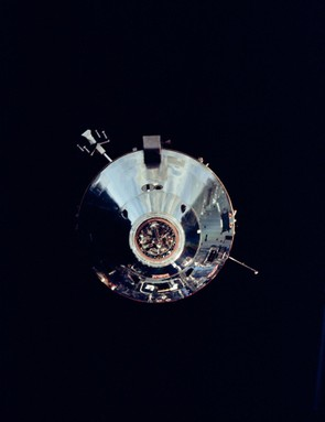Apollo 9 Lunar Module, 8 March 1969. During the fifth day of Apollo 9 Earth-orbital mission, the Command Module photographs the Lunar Module