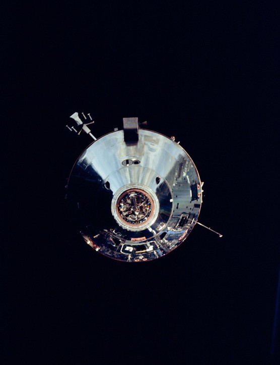 Apollo 9 Lunar Module,8 March 1969. During the fifth day of Apollo 9 Earth-orbital mission, the Command Module photographs the Lunar Module