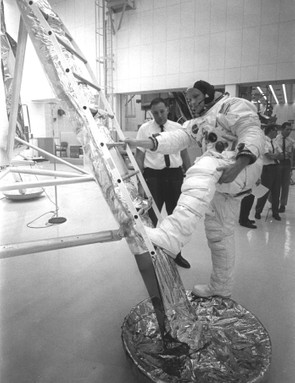 No small step, 9 July 1969. When planning to land on the Moon, NASA were not sure how deep the Moon dust would be. There was a possibility that when Neil Armstrong took his first step he might sink irretrievably. Training sessions prepared him for a big step back onto the Lunar Module ladder. Credit: NASA
