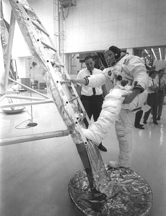 No small step,9 July 1969. When planning to land on the Moon, NASA were not sure how deep the Moon dust would be. There was a possibility that when Neil Armstrong took his first step he might sink irretrievably. Training sessions prepared him for a big step back onto the Lunar Module ladder.Credit: NASA