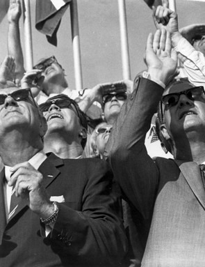 Presidential spectators, July 16, 1969. Surrounded by a crowd of enthusiastic onlookers, US Vice President Spiro T Agnew (right) and former US President Lyndon B Johnson (left) watch the Apollo 11 launch. Credit: NASA