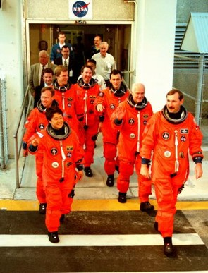 Taking to the skies again: John Glenn and the rest of the STS-95 crew at Kennedy Space Center for mission training ahead of their flight, 9 October 1998. (Credit: NASA)