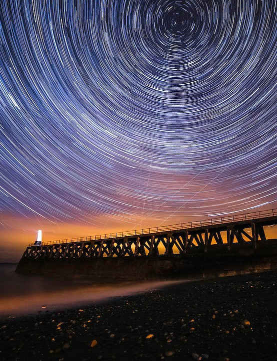 Star trails Anthony Beavers, Maryport Pier, Cumbria, 28 March 2019  Equipment: Canon EOS 6D DSLR camera, Samyang 14mm f/2.8 lens