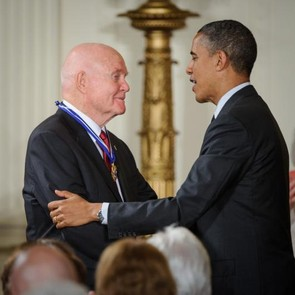 President Barack Obama presents John Glenn with the Presidential Medal of Freedom, 29 May 2012. (Credit: NASA/Bill Ingalls)