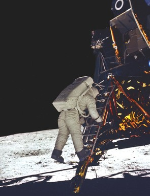 First steps, 20 July 1969. Following closely in the footsteps of Neil Armstrong, Edwin (Buzz) Aldrin takes his first steps on the Moon. Credit: NASA
