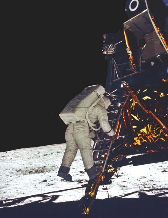 First steps,20 July 1969.Following closely in the footsteps of Neil Armstrong, Edwin (Buzz) Aldrin takes his first steps on the Moon.Credit: NASA