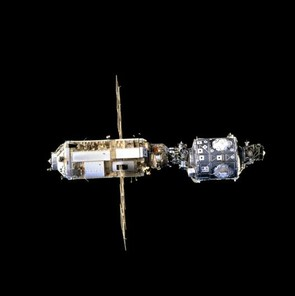 December 1998: the US built Unity connecting module and Russia's Zarya module a few month's after Zayra was launched from Kazakhstan (Credit: NASA)