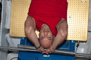 6 June 2013 - ESA astronaut Luca Parmitano gets a workout on the Advanced Resistive Exercise Device (ARED) in the Tranquility node of the ISS.