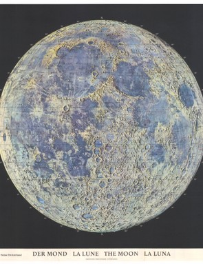 Der Mond, La Lune, The Moon, La Luna Created by Hans Schwarzenback and published by Hallwag in 1969. The map celebrates The Apollo 11 mission and the landing site is marked with a red dot.