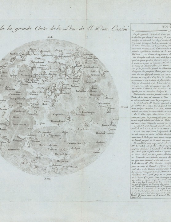 Réduction de la grande Carte de la Lune Published in 1788, this is a reduction of Cassini IV's reissue of his great-grandfather's rare lunar map. Cassini made approximately 60 drawings of the Moon between 1671-1679, with the assistance of artists Sebastien Leclerc and Jean Patigny.