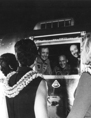 Long-awaited reception, 27 July 1969. The Apollo 11 crew are greeted by their wives (L-R) Pat Collins, Jan Armstrong and Joan Aldrin, upon arrival at Ellington Air Force Base. The crew (L-R) Armstrong, Aldrin and Collins are still under their 21-day quarantine period. Credit: NASA