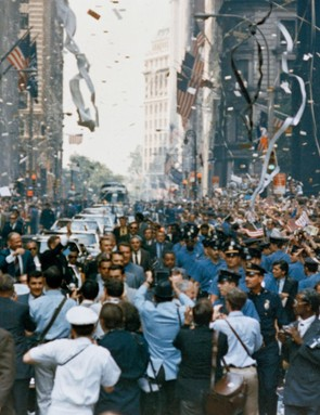 Apollo 11 New York jubilations, 13 August 1969. The whole of New York City comes out to welcome the Apollo 11 crew, showering them in ticker tape. Pictured in the car, from right, are Neil Armstrong, Michael Collins and Buzz Aldrin. Credit: NASA