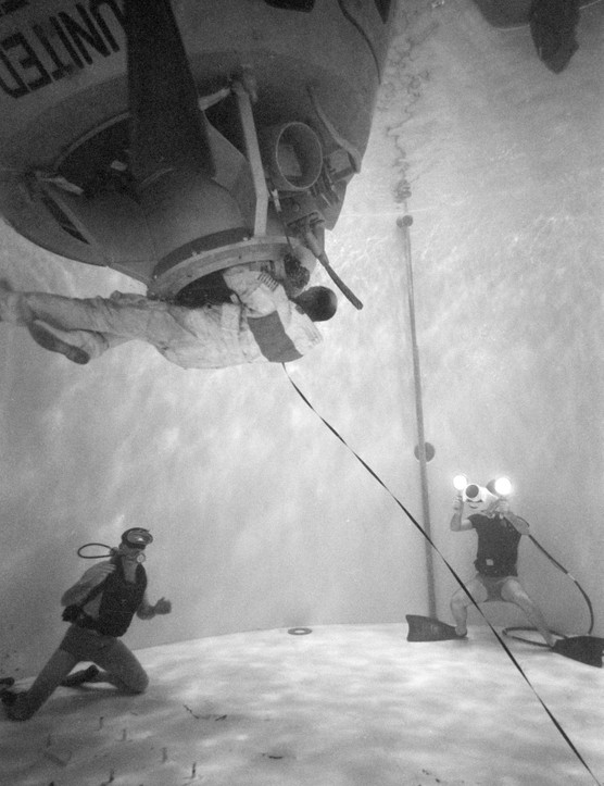 Sub-aqua astronaut,17 January 1970. Astronaut Thomas K Mattingly II, Command Module pilot of Apollo 13, carries out water egress training at the Manned Spacecraft Center. Training like this is prepared astronauts for a water landing, coping with a capsized spacecraft and remaining calm under pressure.Credit: NASA