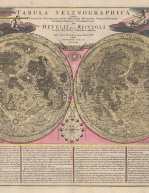 Tabula Selenographica  Published in 1710 this map depicts the Moon's surface as a comparative analysis of the topography and nomenclature of Hevelius and Riccioli. Johannes Hevelius (1611-1687) founded Selenography. Giovanni Battista Riccioli (1598 - 1671) introduced current lunar nomenclature, naming features such as the Sea of Tranquillity, the Apollo 11 landing site.