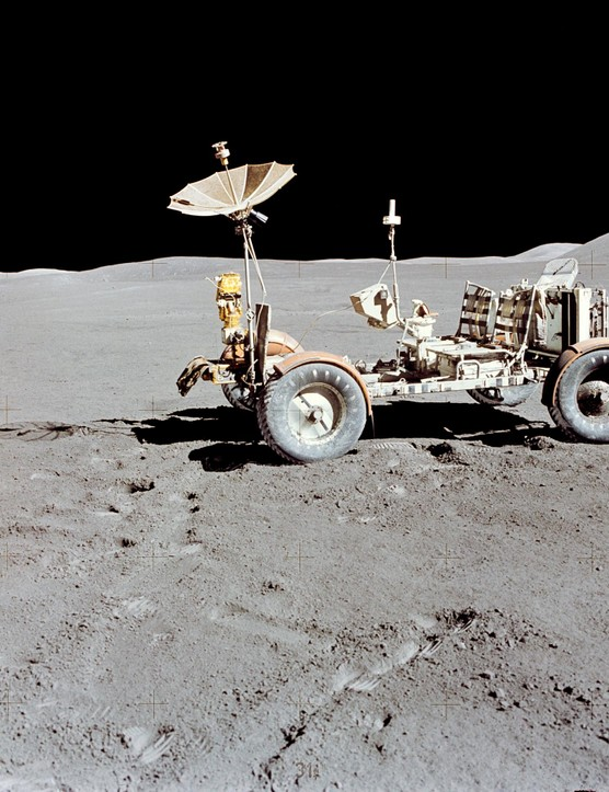 Lunar locomotion,1 August 1971.The Lunar Roving Vehicle photographed on the Moon during the third Apollo 15 lunar surface extravehicular activity at the Hadley-Apennine landing site.Credit: NASA