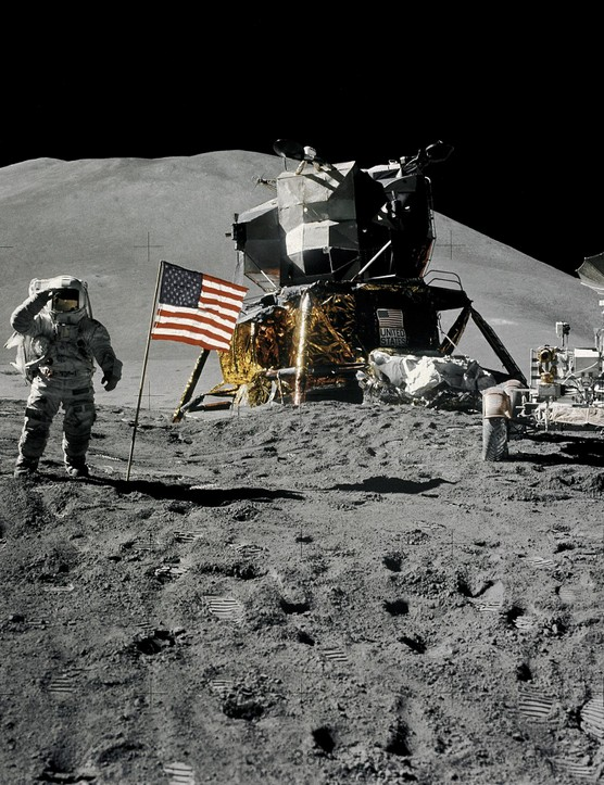 Lunar Module pilot James B Irwin gives a military salute during at the Hadley-Apennine landing site, on the Apollo 15 mission. The Lunar Module 'Falcon' is in the centre of the image and on the right is the Lunar Roving Vehicle.Credit: NASA