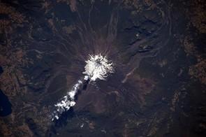 Active volcano Mr Villarrica seen smoking away.