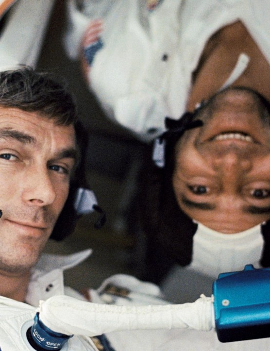 Right-side up,17 December 1972. Apollo 17 was the final lunar landing mission in NASA's Apollo programme. Here Lunar Module pilot Harrison H Schmitt takes a photo of crewmembers Eugene A Cernan and Astronaut Ronald E Evans. This is one of the last images taken on an Apollo mission. Credit: NASA