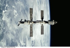 September 2000: the ISS has gained the Progress and Zvezda service modules (Credit: NASA)