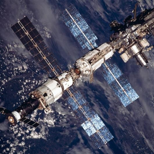 August 2001: this close up view of the ISS clearly shows the separate components that make up the space lab (Credit: NASA)
