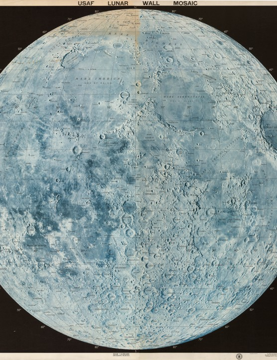 Lunar Wall Mosaic  Created by the Air Force Aeronautical Chart and Information Center, in the heart of the Space Race, The Lunar Wall Mosaic is a map compiled from thousands of lunar photographs. Detailed maps like this were crucial to the success of projects like Apollo 11.