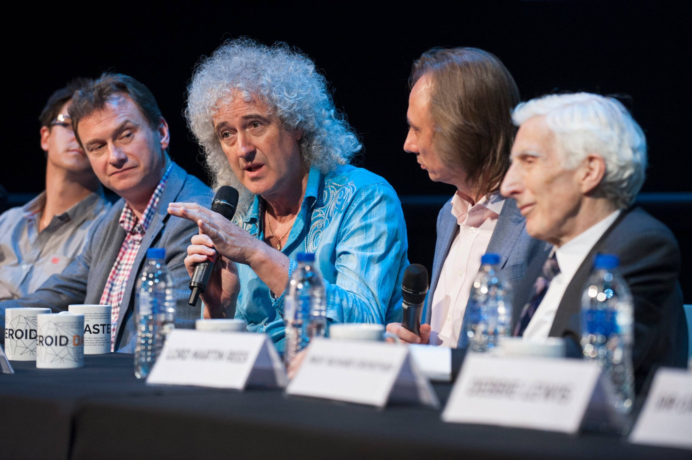 The esteemed Asteroid Day 2015 panel: left to right is Prof Alan Fitzsimmons, Brian May, Stuart Clark and Astronomer Royal Martin Rees. Credit: Asteroid Day
