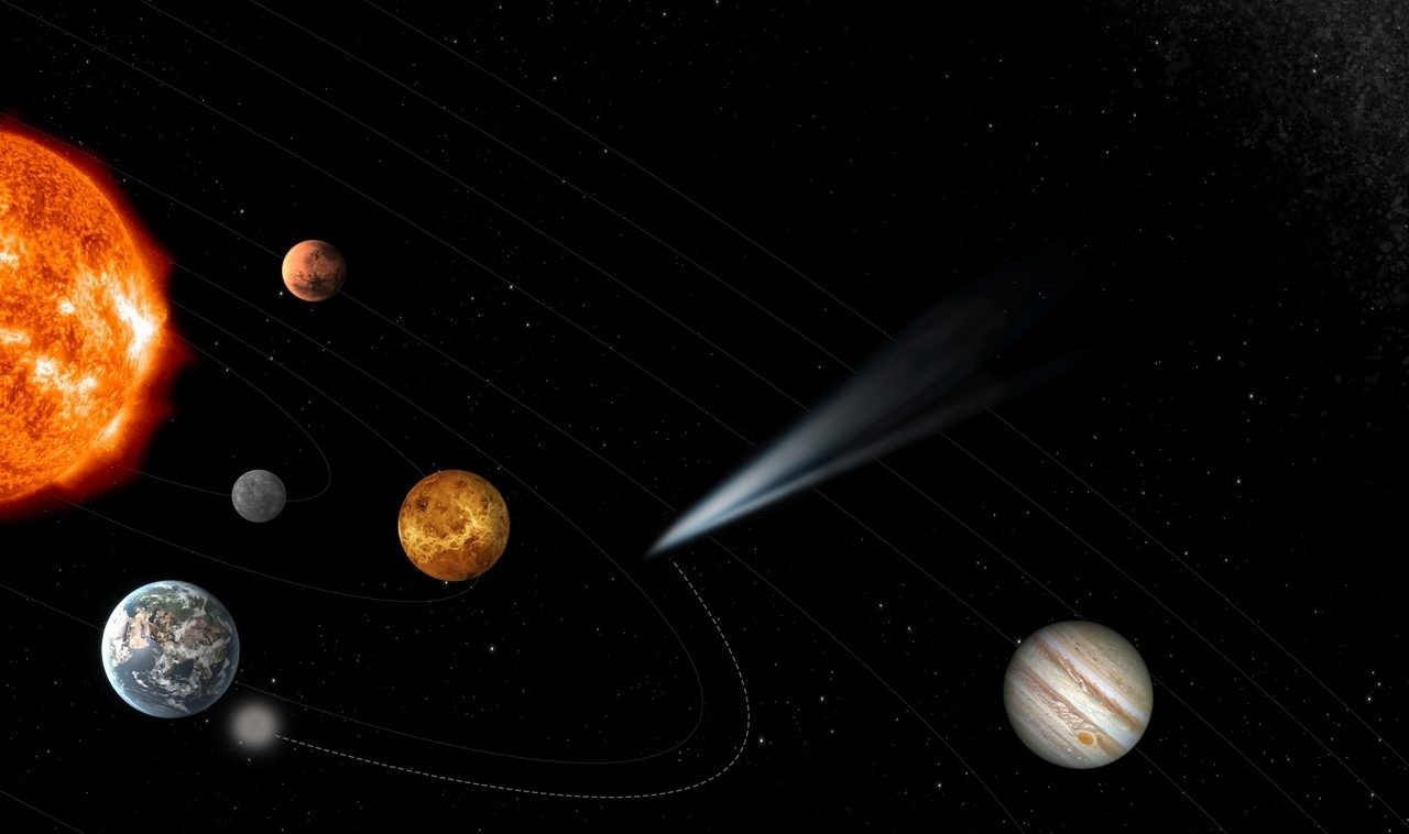 An artist's impression of a pristine comet entering the Solar System with the comet interceptor waiting to initiate contact in Earth's orbit. Credit: ESA