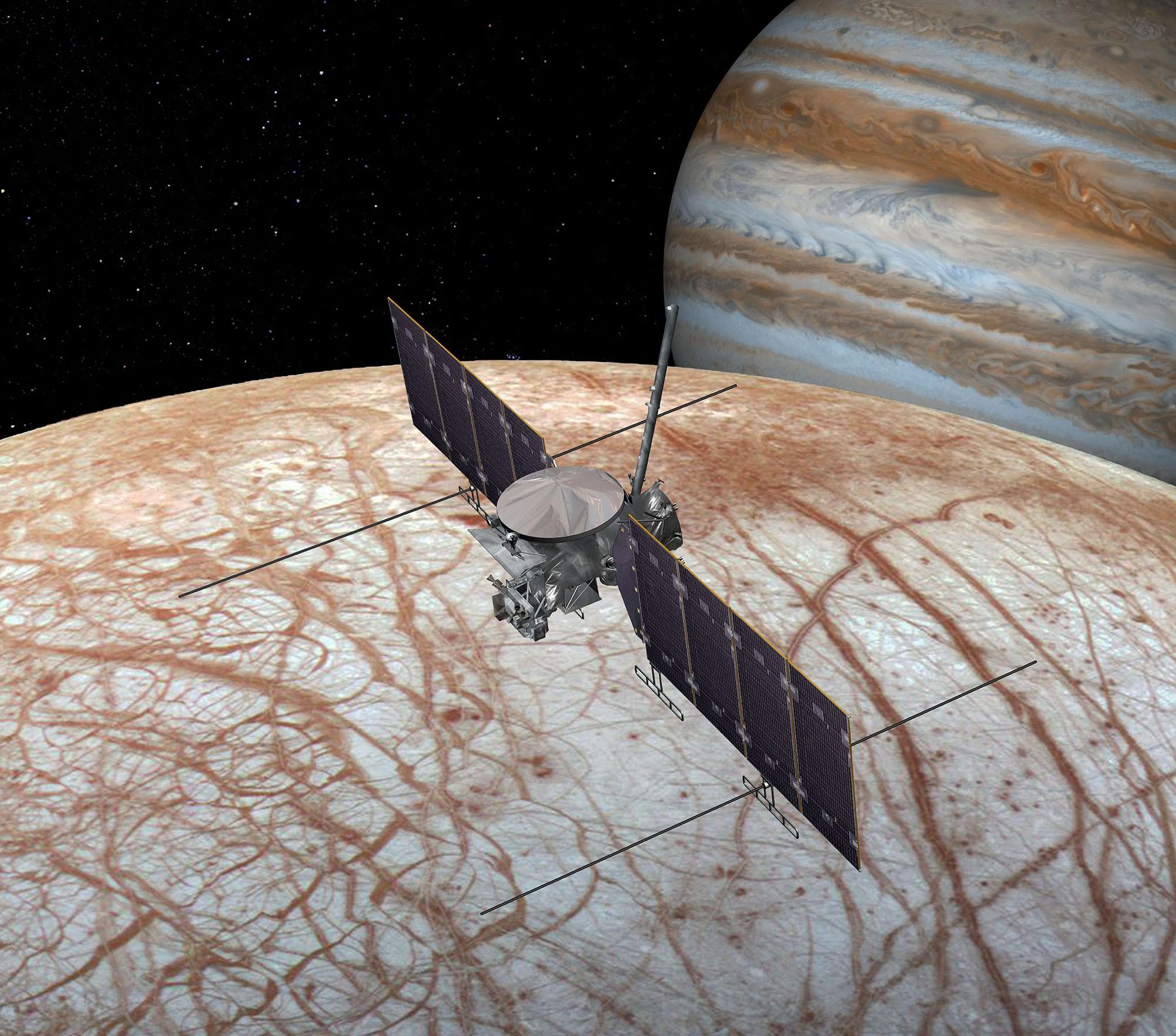 An artist's impression of the Europa Clipper exploring Jupiter's moon Enceladus.Credit: NASA/JPL-Caltech