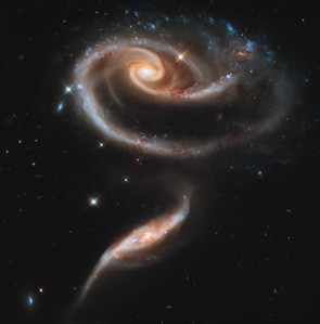 These two galaxies are passing close to each other, resulting in their twisted shape resembling a rose. Credit: NASA/ESA/Hubble Heritage Team (STScI/AURA)