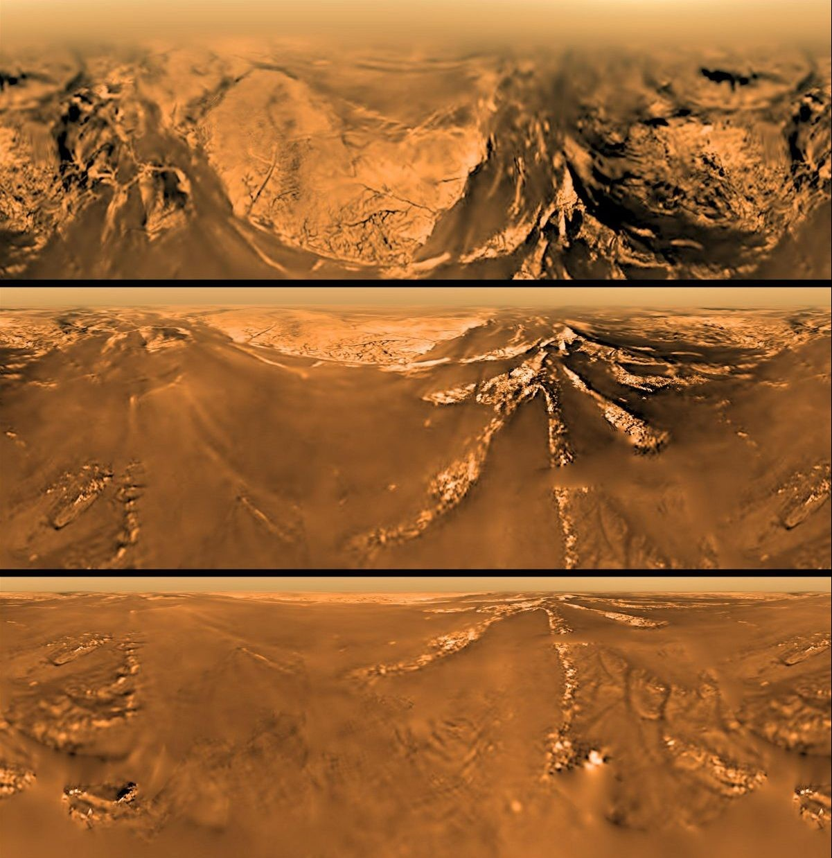 Views of Titan's surface as seen by the Huygens lander during its descent onto the surface of the icy moon, 14 January 2005. Credit: ESA/NASA/JPL/University of Arizona