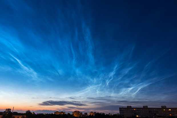 Noctilucent clouds over Tallinn. Estonia, Europe. Credit: Arsty/iStock/Getty images