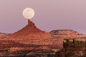 On Top - Tommaso Maiocchi, Taken on the 14th April 2014; the day of the lunar eclipse, in Canyonlands National Park. The moon rose as the sun set, and at the time the image was taken, the moon was just above one of the Buttes in the park.