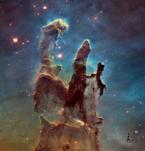 The Pillars of Creation in the Eagle Nebula is one of Hubble's most iconic images. To celebrate the telescope's 25th year, NASA retook the image using Wide Field Camera 3, which was installed in 2009. Credit: NASA/ESA/The Hubble Heritage Team (STScI / AURA)