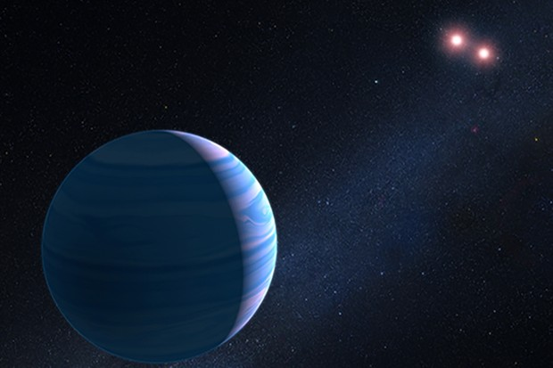 Artist's impression of the exoplanet that was discovered orbiting two stars. The planet was initially detected using a technique that measures its effect on spacetime, and then confirmed using the Hubble Space Telescope. NASA, ESA, and G. Bacon (STScI)
